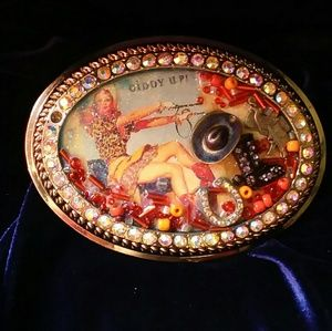 Funky Vintage pinup Cowgirl buckle